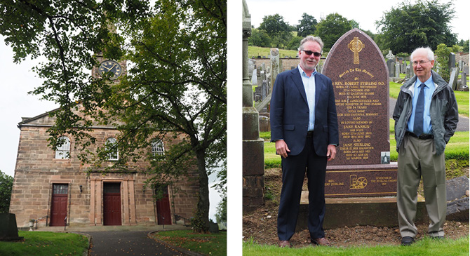 The Galston Parish Church and Stirling Ultracold's Neill Lane (left) and David Berchowitz (right) at the Robert Stirling monument in Galson Scotland.