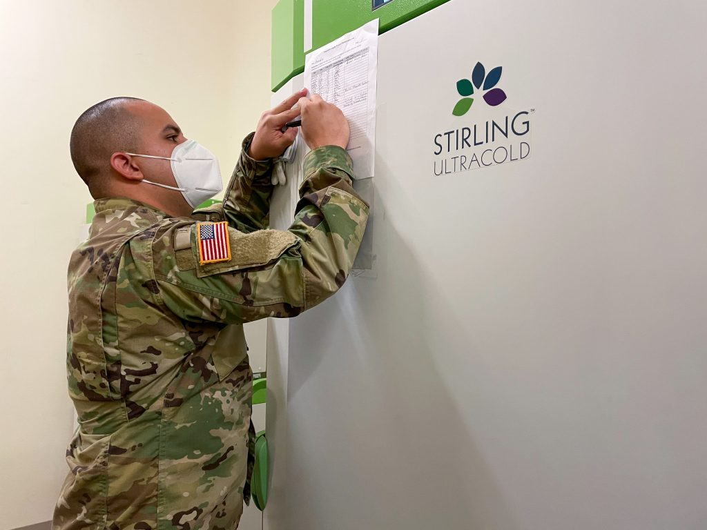 National Guard with freezer